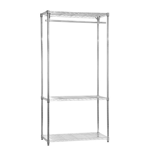 Chrome Wire Clothes Rack - 1 x Rail & 3 x Shelves - H1800 x W1200 x D450mm