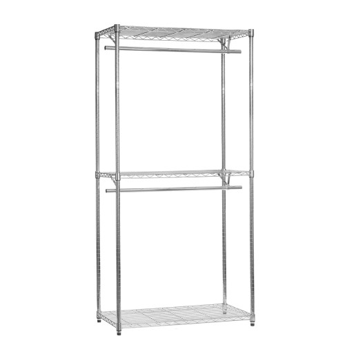 Chrome Wire Clothes Rack - 2 x Rails & 3 x Shelves - H2100 x W900 x D450mm