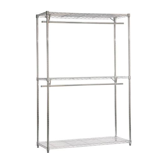 Chrome Wire Clothes Rack - 2 x Rails & 3 x Shelves - H2100 x W1200 x D450mm