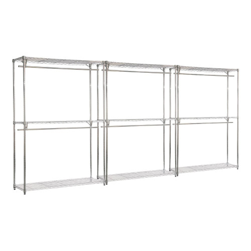 3 x Chrome Wire Clothes Racks - 2 x Rails & 3 x Shelves - H2100 x W1200 x D450mm