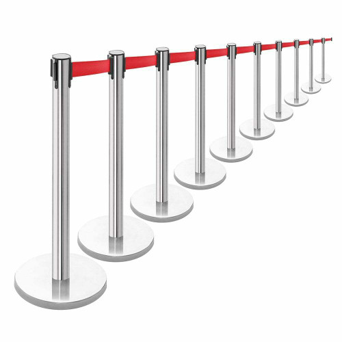 10 x Retractable Belt Barrier Posts - Polished Stainless Steel Posts with Webbed Belts