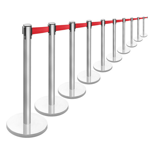 10 x Retractable Belt Barrier Posts - Brushed Stainless Steel Posts with Webbed Belts