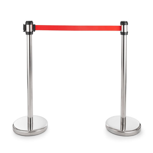 Pair of All-Way Retractable Belt Barriers - Polished Stainless Steel Posts with 2m Belts