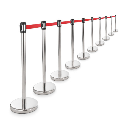 10 x All-Way Retractable Belt Barriers - Polished Stainless Steel Posts with 2m Belts