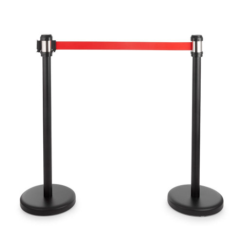 Pair of All-Way Retractable Belt Barrier Posts - Black Posts with 2m Webbed Belts