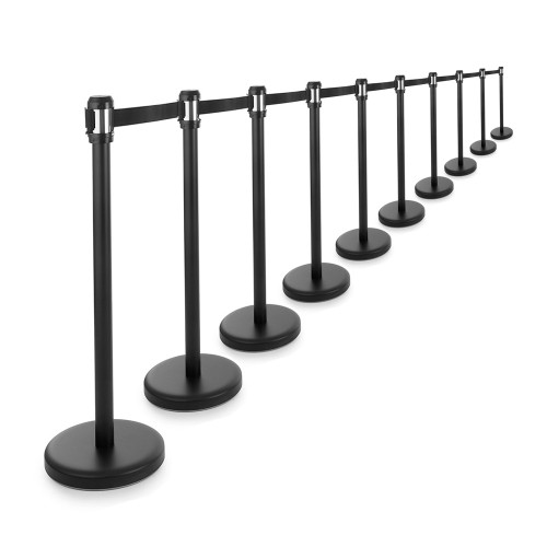 10 x All-Way Retractable Belt Barrier Posts - Black Posts with 2m Webbed Belts