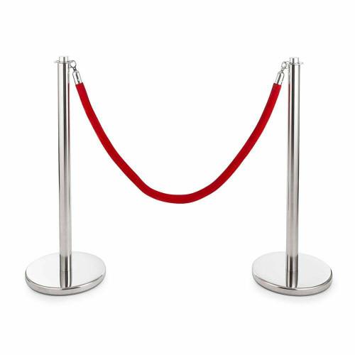 Pair of Universal Range Rope Barriers - Polished Stainless Steel Posts - Velvet Rope