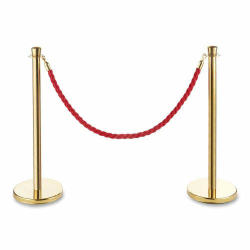 Pair of Premium Rope Barrier Posts - Polished Gold Stainless Steel Posts with Twisted Rope