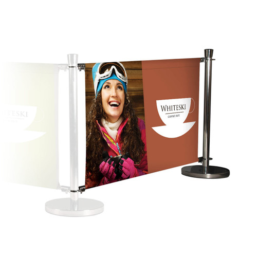 Chrome Deluxe Cafe Barrier Extension Kit - Single Sided Graphics