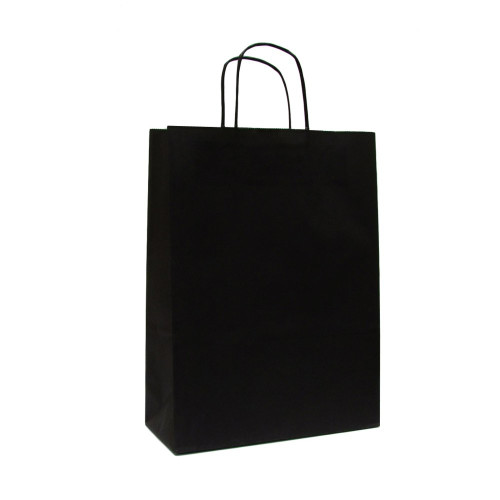 Box of 250 Black Large Paper Carrier Bags