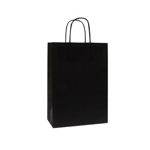 Box of 250 Black Medium Paper Carrier Bags