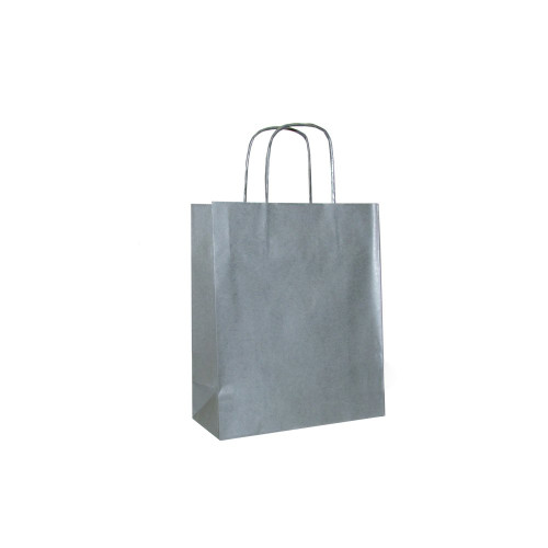 Box of 300 Silver Small Paper Carrier Bags