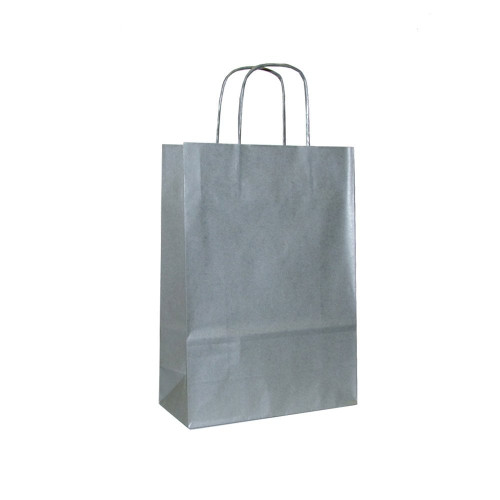 Box of 200 Silver Medium Paper Carrier Bags