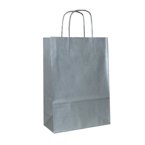 Box of 250 Silver Large Paper Carrier Bags