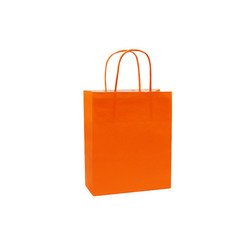 Box of 300 Orange Small Paper Carrier Bags