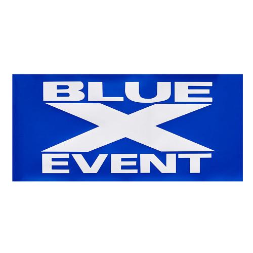 Blue X Event Cardboard Banner - 29 x 13.5 inch
