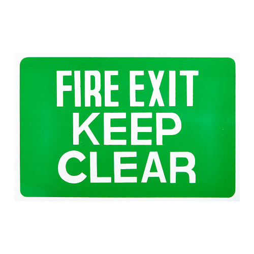 Green/White Fire Exit Keep Clear Self-Adhesive - 8 x 12 inch