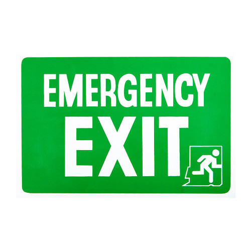 Green/White Emergency Exit Self-Adhesive Sign - 8 x 12 inch