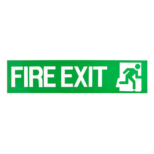 Green/White Fire Exit Self-Adhesive Sign - 6 x 24 inch