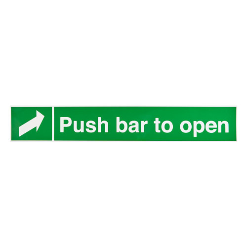 Green/White Push Bar To Open Self-Adhesive Sign - 4 x 24 inch