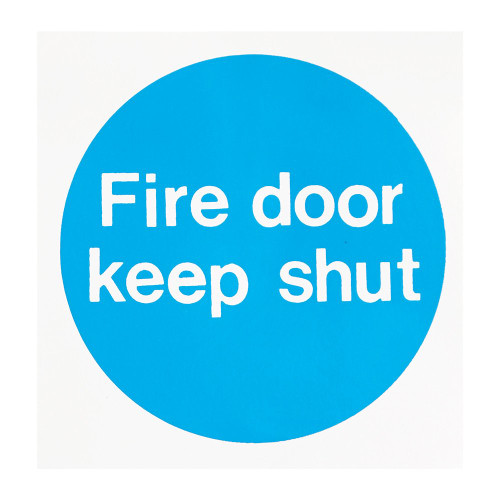Blue/White Fire door Keep Shut Self-Adhesive Sign - 4.5 Diameter