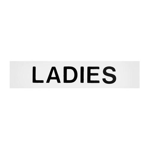 White/Black Ladies Self-Adhesive Sign - 2 x 8 inch