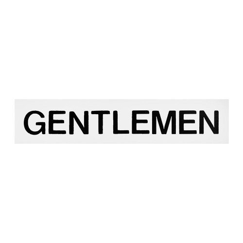 White/Black Gentlemen Self-Adhesive Sign - 2 x 8 inch