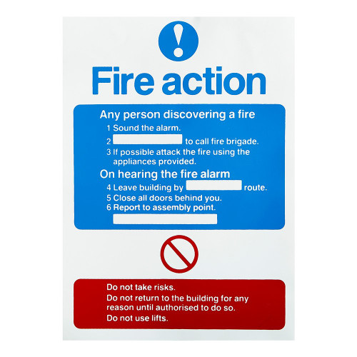 Fire Action Self-Adhesive Sign - 10 x 7 inch