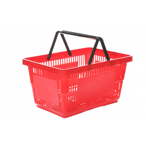 Red Plastic Shopping Basket - 27L
