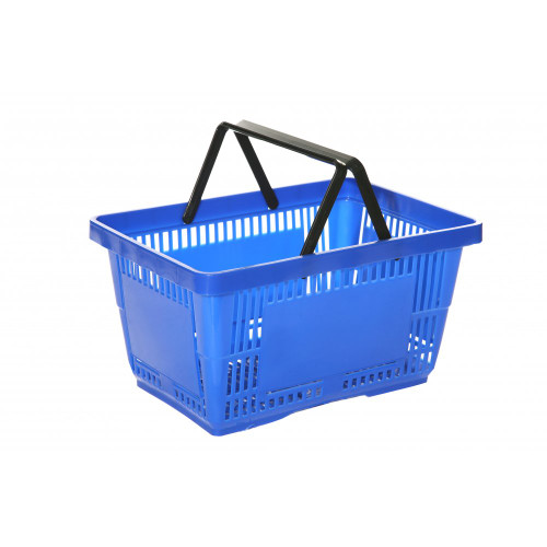 Blue Plastic Shopping Basket - 27L