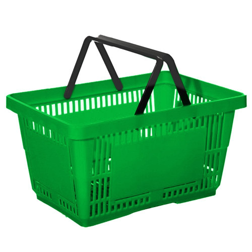 Green Plastic Shopping Basket - 27L