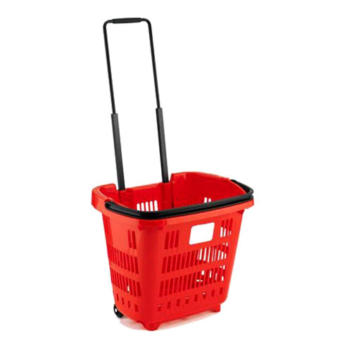 Red Plastic Shopping Basket With Wheels And Telescopic Handle - 34L