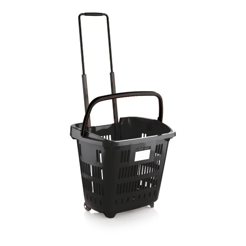 Black Plastic Shopping Basket With Wheels And Telescopic Handle - 34L