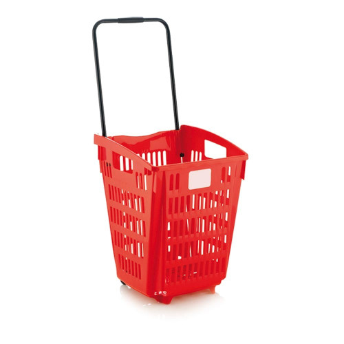 Red Plastic Shopping Basket With Wheels And Telescopic Handle - 52L