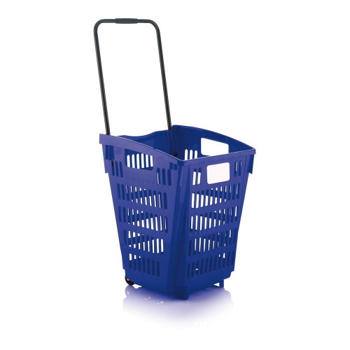 Blue Plastic Shopping Basket With Wheels And Telescopic Handle - 52L