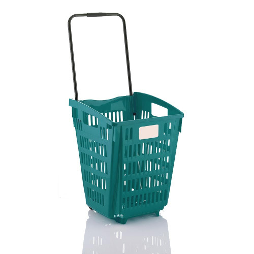 Turquoise Plastic Shopping Basket With Wheels And Telescopic Handle - 52L