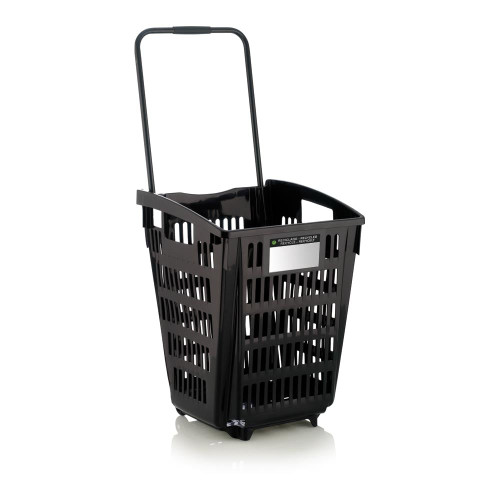 Black Plastic Shopping Basket With Wheels And Telescopic Handle - 52L