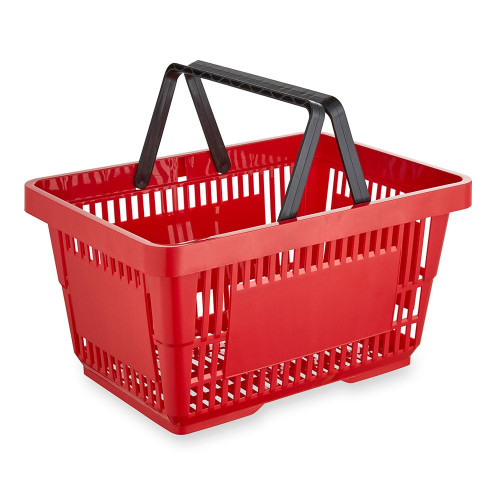 Red Plastic Shopping Basket - 22L