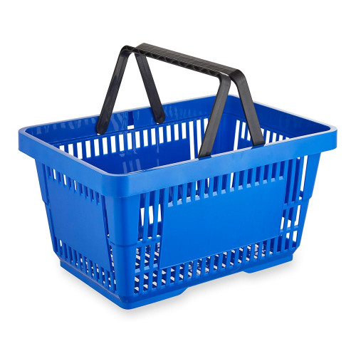 Blue Plastic Shopping Basket - 22L