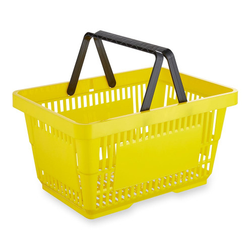 Yellow Plastic Shopping Basket - 22L