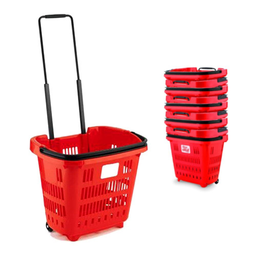 Pack of 10 Red Plastic Shopping Basket With Wheels And Telescopic Handle - 34L