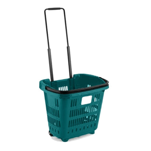 Pack of 10 Turquoise Plastic Shopping Basket With Wheels And Telescopic Handle - 34L