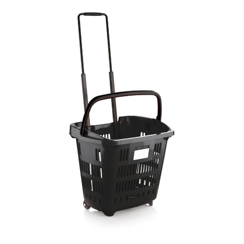 Pack of 10 Black Plastic Shopping Basket With Wheels And Telescopic Handle - 34L