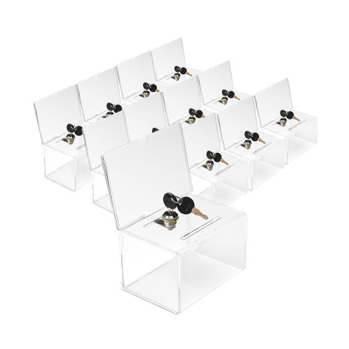 Pack of 12 Lockable Acrylic Suggestion Box With Small Insert