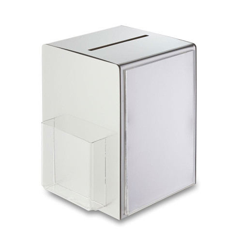 Premium Metallic Silver Suggestion Box With Leaflet Holder And A5 Pocket