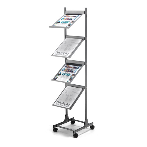 Grey Mobile Literature Floor Stand - Aluminium With Wheels - A4 Portrait