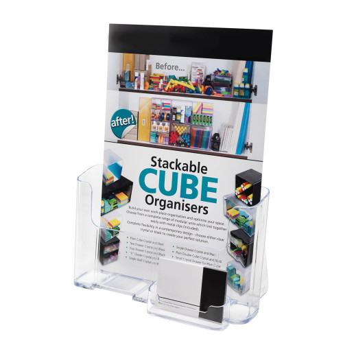 Clear Leaflet And Brochure Holder With Business Card Holder - A4 Portrait