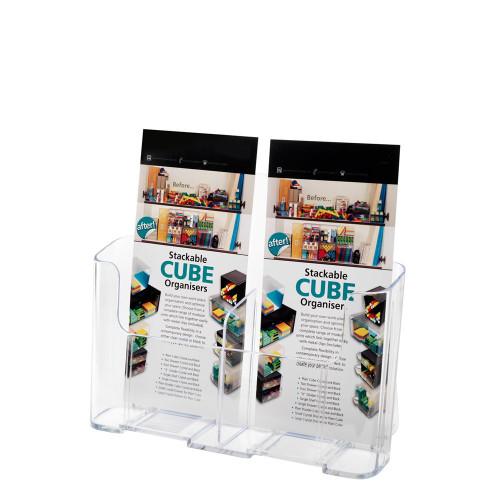 Clear Low-Back Leaflet And Brochure Holder - Portrait, 2 Pockets, 1/3 A4