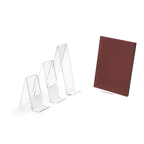 Clear Acrylic Book Stand - H140 x W50 x D113mm
