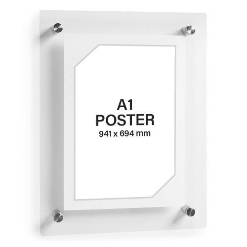 Clear Acrylic Wall Mounted Poster Frame with Satin Finish Stand-Off - A1